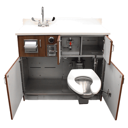 The Willoughby WH-1750 Series Swivel Medical Toilet (w/ Medical Toilet Seat) is a single-user fixture for use in healthcare environments.
